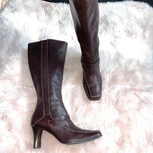 Anne Klein knee high leather heeled boots